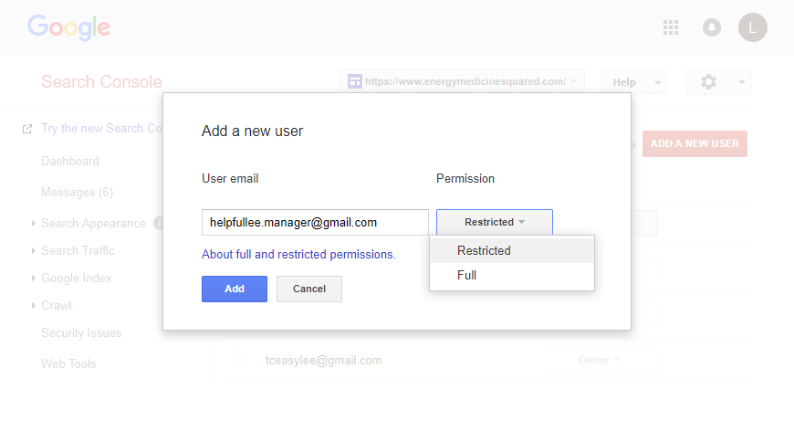 Search Console User Permissions